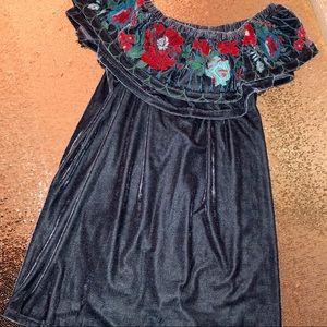 UMGEE USA velvet off shoulder embroidered dress